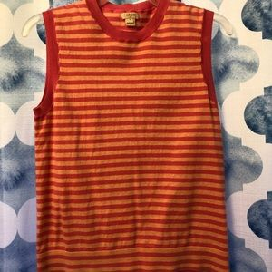 J. Crew sleeveless pink striped sweater